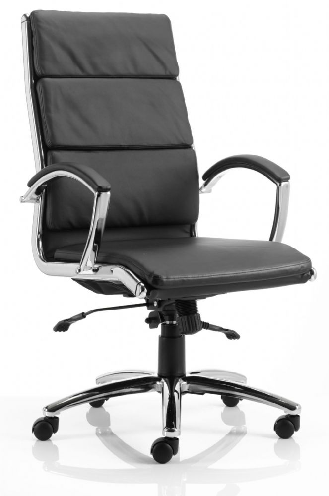 Classic Executive Chair High Backrest Soft Padded Seat and Backrest Fixed Arms Various Leathers